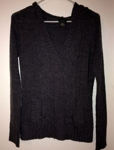 DOTS Ladies Med Gray Long Sleeve VNeck Hooded Sweater #Dots #Hooded $3.99 @ebay