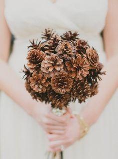 Rustic Wedding Bouquets | Pine Cones