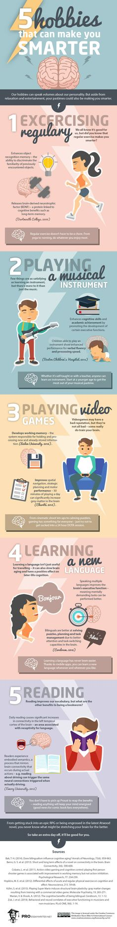 Starting any new hobby will have positive benefits in some way. Today's infographic focuses on five of the most common hobbies, but almost anything will get your brain moving.