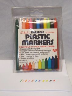 Vintage Sanford Erasable Plastic Markers 12 Colors #Sanford