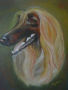 Parish - Afghan Hound 16 X 20 Oil on Canvas.