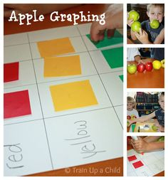 Graphing apples by color in preschool and kindergarten including other ideas for sorting, tasting and baking.