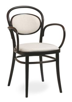 """Murcia Upholstered Bentwood Arm Chair""  Designed using the bentwood construction is a favorite for traditional cafes and bistros. Available in standard wood tones and premium wood finishes.  Please contact us for pricing (718)363-3097."