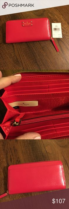 Kate spade new red wallet Kate spade new red Waller. Zippers are gold. It's the neda style Wellesley wallet in cherry liqr kate spade Bags Wallets