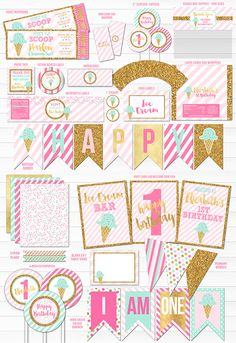 Printable Pink Mint and Gold Glitter Ice Cream Birthday Party Package Decorations | Ice Cream Ticket Birthday Invitation | Sundae Party | Dessert Party | Digital File | Ice Cream Social Event | FREE thank you card | Banner | Cupcake Toppers | Favor Tag | Food and Drink Labels | Photo Props | Signs | Candy Bar Wrapper | www.dazzleexpressions.com