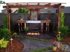 This gorgeous hot tub entertainment hub comes complete with a colorful stamped concrete patio, inviting U-shaped bar, slate mosaic wall and beautiful, shady arbor. Hot Tub Garden, Hot Tub Backyard, Backyard Patio, Backyard Ideas, Patio Ideas, Garden Ideas, Pool Ideas, Outdoor Ideas, Landscaping Ideas