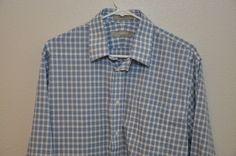 Nordstrom's Blue Plaid Long Sleeve Dress Shirt  Men's Size 16 - 35 EUC #Nordstroms #ButtonFront