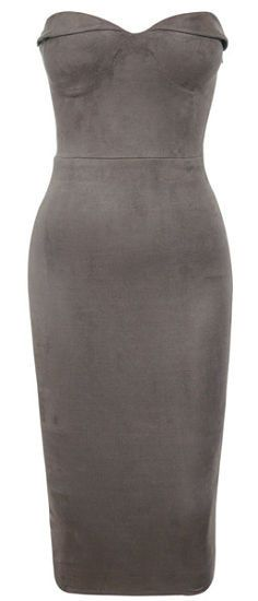Sophia Gray Suede Strapless Dress