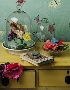 using cake stands with domes to display things (decor) other than just cakes :)