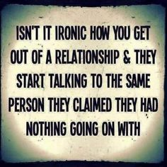 """ironic that the #narcissist runs into her ex while she was on a date with another man, to hear him say """"whore"""" ... then a month later go back to the guy she had cheated on when she was with the ex."""