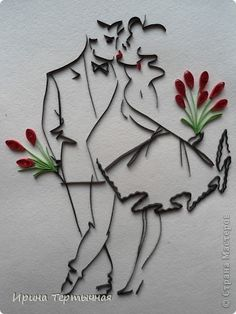 Man Woman Kissing Quilled Paper Art