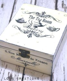 Nice ** black and white Picket Decoupage Tea Field/ Cookies Field/ Storage/ Jewelry field, shabby stylish souvenir trinket Wooden Tea Box, Wooden Diy, Wooden Boxes, Wood Packaging, Tea Packaging, How To Do Diy Projects, Creative Box, Cookie Box, Wooden Jewelry Boxes