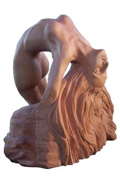 Lime wood Sculptures of females by artist Zita Ra titled: 'Woman of Infinity (Carved Wood nude in Ecstasy sculptures)'