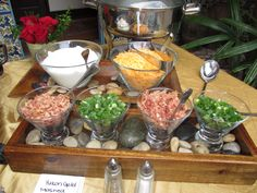 Yummm all of the toppings for your mashed potato bar at Casa Feliz  http://casafeliz.us/  http://arthurscatering.com/