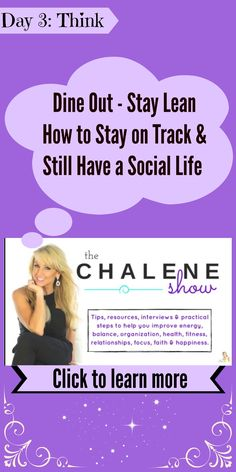 Do you always wonder how people eat out and manage to find healthy options?  Then check out Chalene Johnson's show dedicated to this topic.  LIKE, COMMENT and RE-PIN if you no longer dread eating out.