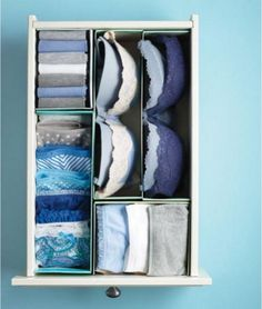 Take old shoe boxes and cut them to fit the size of the drawer. Simply fold your underwear and socks to the appropriate size and stack them in the boxes.