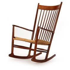 Hans Wegner; Beech and Paper Cord Rocking Chair for FDB Møbler, 1970s.