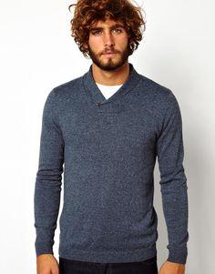 ASOS - Blue Shawl Neck Sweater