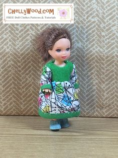 Here we have a tiny-doll project for someone who is a beginning-to-intermediate sewist. (Any time you need to attach sleeves, the sewing gets a little harder than just beginner-level.) I still thin… Barbie Sewing Patterns, Doll Clothes Patterns, Sewing Patterns Free, Doll Patterns, Clothing Patterns, Free Pattern, Sewing Dolls, Barbie Clothes, Diy Clothes