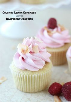Coconut Lemon Cupcakes with Raspberry Frosting recipe via @orsoshesays #cupcakes