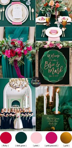 wedding Pink wedding inspiration and ideas for the alternative creative bride Dark Green + Pink + Ruby and Gold Color Palette for Autumn & Winter Wedding - emerald green + pink wedding coor scheme Emerald Wedding Colors, Winter Wedding Colors, Emerald Green Weddings, Jewel Tone Wedding, Pink Wedding Theme, Wedding Themes, Autumn Wedding, Winter Weddings, Blue Weddings