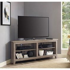 Walker Edison Driftwood 58 in. TV Media Stand Storage Corner Console - HN58CCRAG