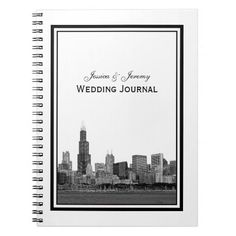 Chicago Skyline Etched Framed Wedding Journal Note Book
