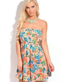 #peach #blue #multicolor #floral #strapless #skaterdress #chic #spring #ustrendy