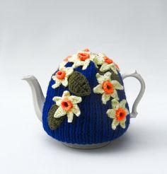 Crochet flowers teapot cozy knit tea cosy daffodil cosie by jarg0n, £30.00