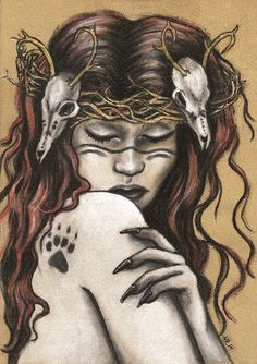 Finnish goddess of life and death.   Original artwork by Heather Rose  Graphite and pastels on panel.   Initialed on front and signed, titled, and dated on the back of the artwork (inside the frame).   Does not come framed. Artwork is available with the frame for an extra cost. Email me ...