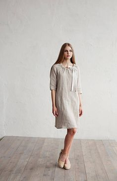 Linen dress with tie around neck. 10 colours. Handmade linen