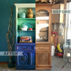 The Turquoise Iris ~ Vintage Modern Home: Ombre Hutch in Turquoise & Blue