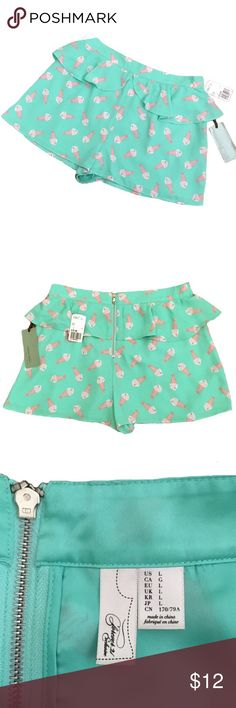 "NWT F21 Soda Shop Frilly Shorts Sz L These are the ultimate pinup girl style shorts! Mint green with pink & white sundae print with a single ruffle around the front & back. About 29"" waist around & 2"" inseam. Flowy/blousy fabric. Never worn. NWT in perfect condition. Forever 21 Shorts"