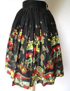 SALE  Vintage 1950s Novelty Skirt // 1920s Pattern by FabVintage
