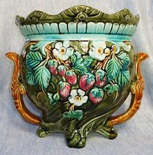VERY BEAUTIFUL ANTIQUE ONNAING  MAJOLICA JARDINIERE WITH STRAWBERRIES