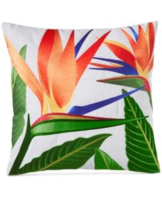 Charter Club Damask Designs Birds of Paradise Embroidered Square Decorative Pillow, Created for Macy's - Multi Tropical Decor, Tropical Flowers, Throw Pillows Bed, Decorative Throw Pillows, Paradise Plant, Blue Wallpapers, Bedding Collections, Damask, Tapestry