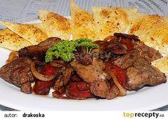 Přírodní drůbeží játra s maďarskou klobásou, cibulí a sýrovými krekry recept - TopRecepty.cz Steak, Cooking Recipes, Treats, Food, Cooking, Sweet Like Candy, Goodies, Eten