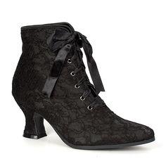 Black Lace Victorian Ankle Boots @ SinisterSoles.com
