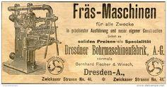 Original-Werbung/ Anzeige 1905 - FRÄS - MASCHINEN - DRESDNER BOHRMASCHINENFABRIK - ca. 150 x 65 mm