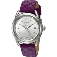 Citizen Drive Analog Display Japanese Quartz Purple Watch ($131) ❤ liked on Polyvore featuring jewelry, watches, purple jewellery, quartz jewelry, quartz watches, citizen watches and quartz wrist watch