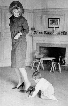 Cayetana Fitz-James Stuart, 18th Duchess of Alba, Grandee of Spain, and her baby son Fernando Martínez de Irujo, 11th Marquis of San Vicente del Barco in the 1961's