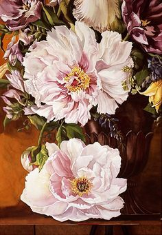 detail of bouquet with peonies