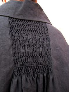 From Worthwhile, Arts & Science Back Smocking Jacket in Ink Black.