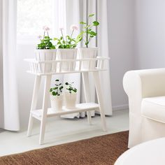 IKEA - LANTLIV, Plant stand, white, A plant stand makes it possible to decorate with plants everywhere in the home. Arrange several plants in a row. Suitable to use as a room divider. Modern Plant Stand, Diy Plant Stand, Outdoor Plant Stands, Wooden Plant Stands Indoor, Design Salon, Indoor Planters, Indoor Trees, Plants Indoor, Stand Design