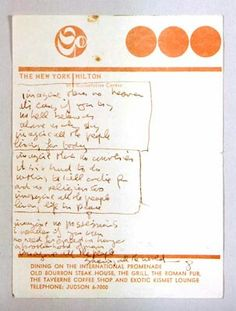 John Lennon's original handwritten lyrics to Imagine, written on a piece of New York Hilton Hotel stationery paper, late 1960's/early 1970's