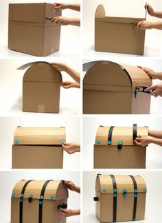 Make your own pirate treasure chest for a pirate party. Make your own pirate treasure chest for a pirate party. Deco Pirate, Pirate Theme, Cardboard Crafts, Paper Crafts, Cardboard Boxes, Cardboard Box Ideas For Kids, Hat Crafts, Diy For Kids, Crafts For Kids