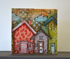 ready to personalise, 3 little mixed media houses on x canvas board Mixed Media Painting, Mixed Media Collage, Mixed Media Canvas, Collage Art, Altered Canvas, Altered Art, Art Altéré, Mix Media, Art Journal Pages