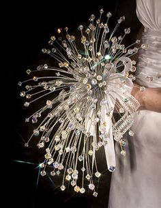 Cascading Swarovski Crystal Wedding Bouquet @ Brilliant Wedding Jewelry