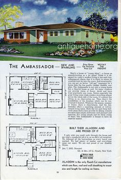 See more Aladdin Kit Homes from the Vintage House Plans, Modern House Plans, Vintage Houses, House Floor Plans, Keller Williams, 1960s House, Prefab Homes, Mid Century House, Arquitetura