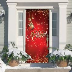 The Holiday Aisle® Ornaments in Snow Garage Door Mural & Reviews Front Door Christmas Decorations, Haunted House Decorations, Christmas Yard Art, Christmas Light Displays, Christmas Banners, Christmas Lights, Christmas Crafts, Christmas Ideas, Christmas Things